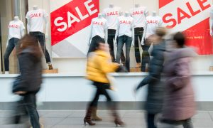 retail shopfront sale stock image