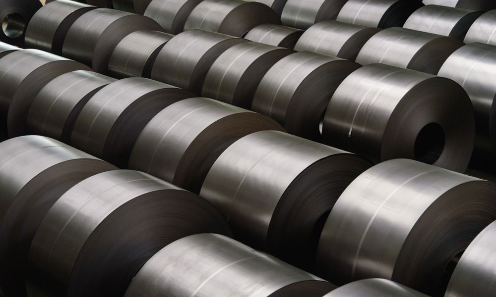 steel coil industry stock image