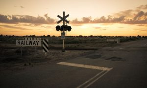 transport railway crossing stock image