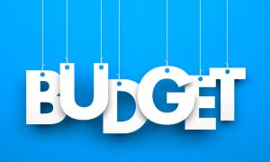 budget blue stock image
