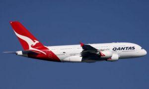 qantas plane stock image