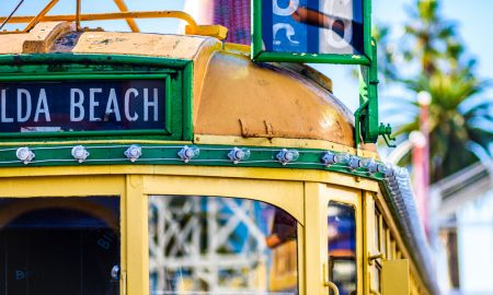 melbourne wclass tram stock image
