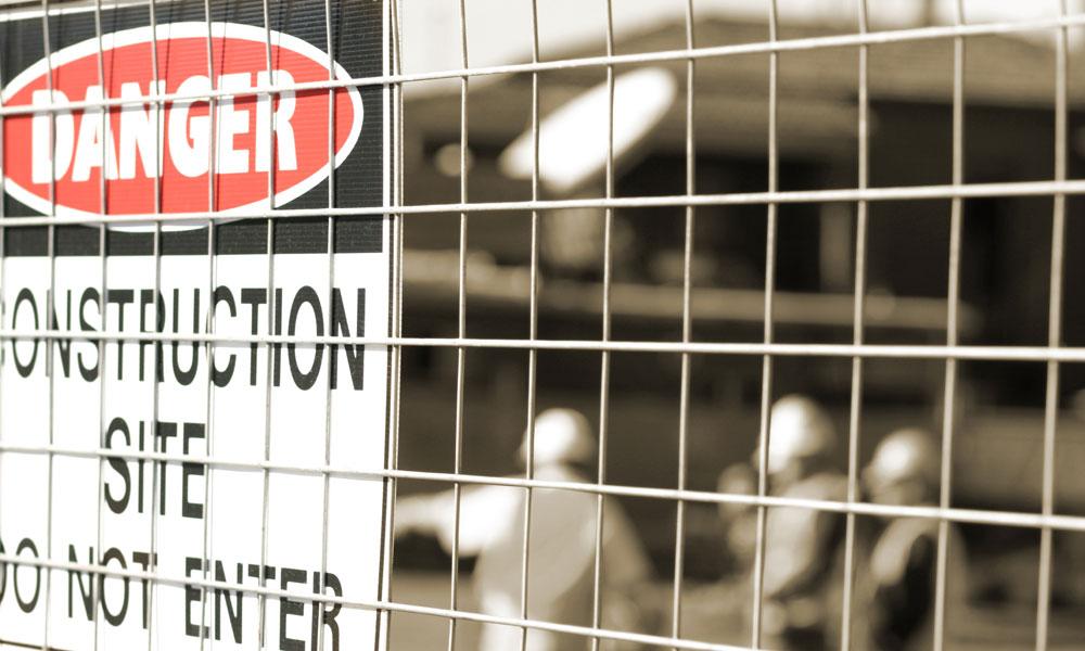 construction fence stock image