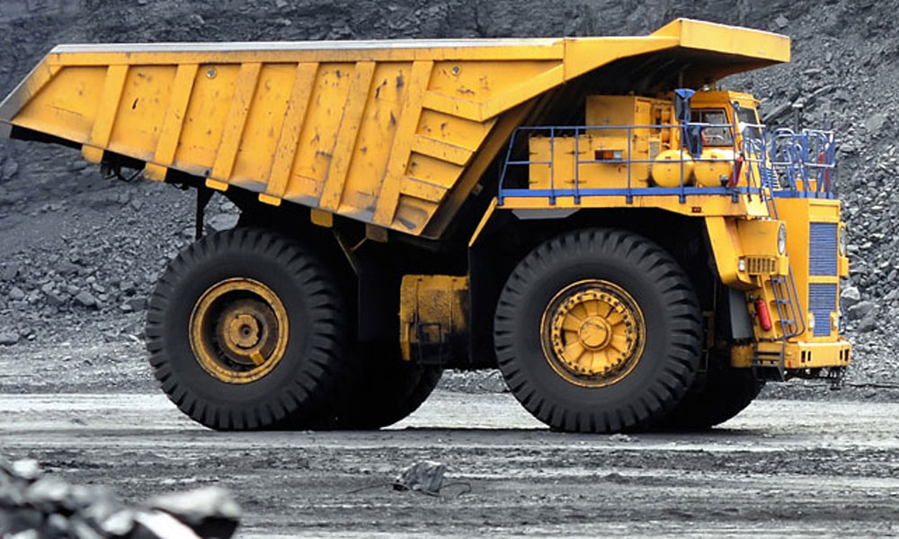 mining trucks stock image