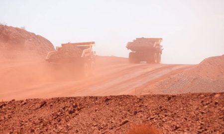 mining iron ore trucks stock image