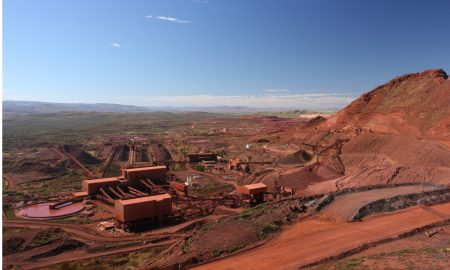 pilbara iron ore mining stock image