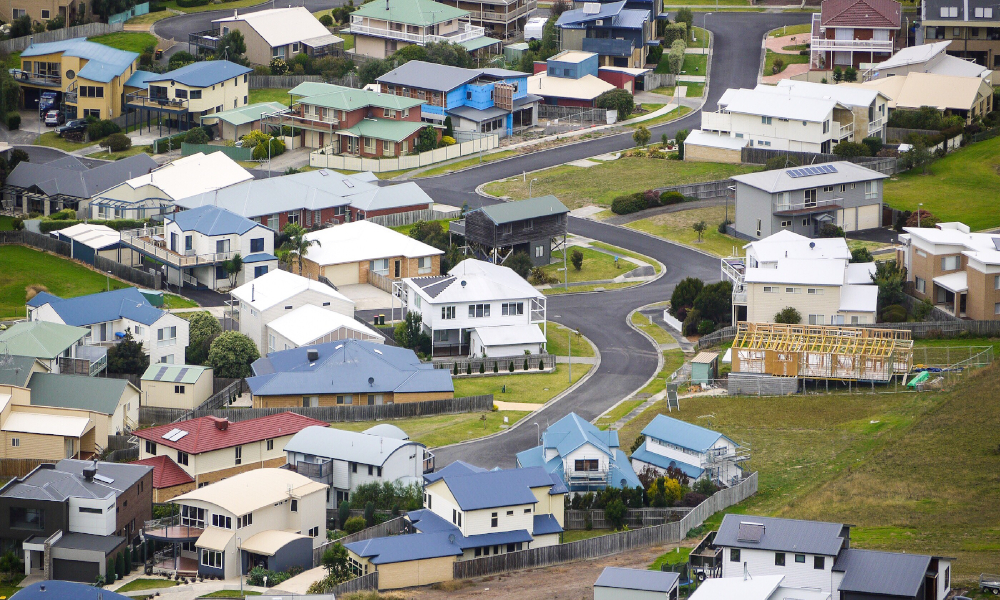 victoria rural property town stock image