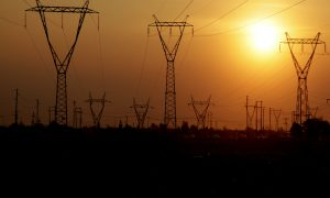 energy pylons stock image
