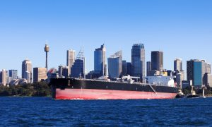 gas exports ship sydney stock image
