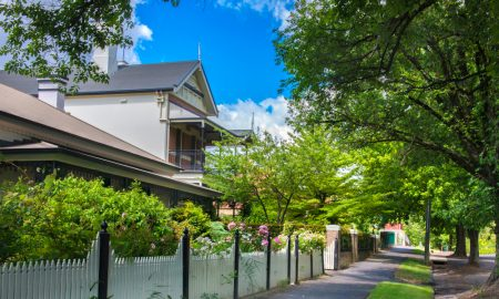 house in orange nsw stock image fence