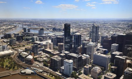 melbourne city skyline stock