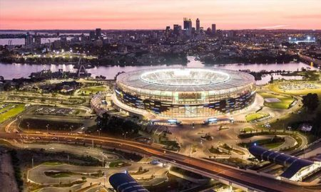 Optus Stadium Perth night. Image courtesy of Government of Western Australia