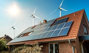 renewable energy house stock image