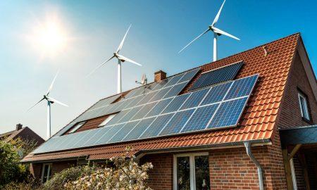 renewable energy house stock image