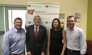 Image caption: L-R: NSW Nationals Candidate for Dubbo Dugald Saunders; Clyde Thomson AM Board Chair Destination Country & Outback; Natalie Forsyth-Stock Board Director Destination Country & Outback; Adam Marshall Minister for Tourism and Major Events