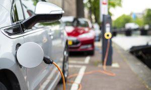 Electric car recharging stock image