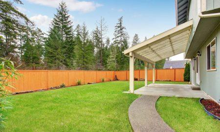 house patio fence stock image