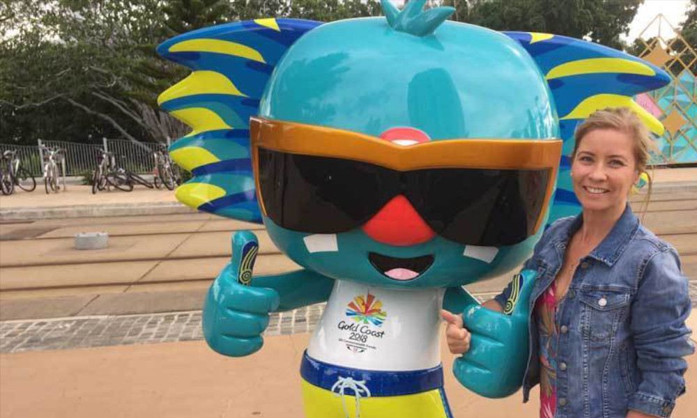 Alyson O'Rourke and Borobi, the Gold Coast Commonwealth Games mascot. Source: Alyson O'Rourke