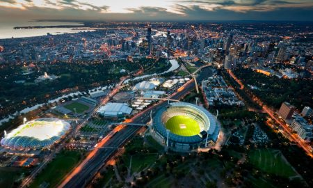 melbourne aerial skylines stock image