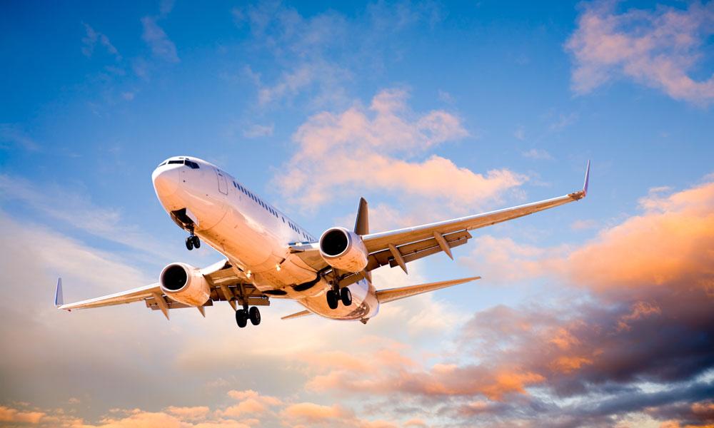 plane flying stock image