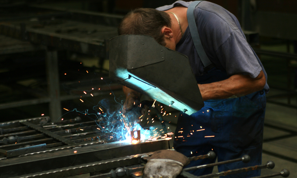 fence manufacture welding stock image