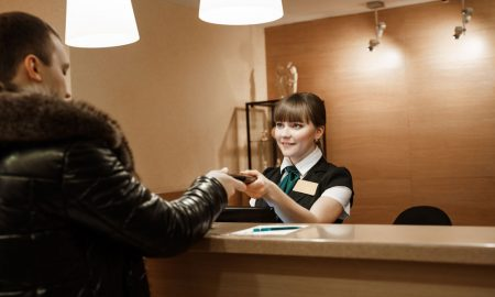 hotel receptionist stock image