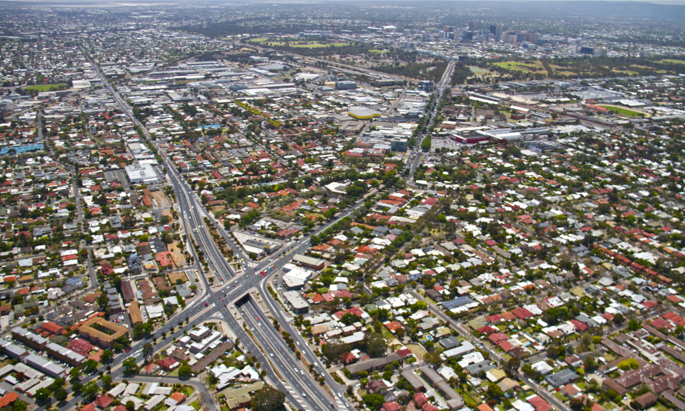 housing adelaide aerial stock image