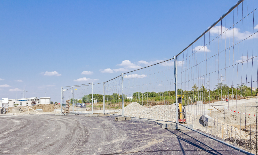fence construction temporary fencing stock image