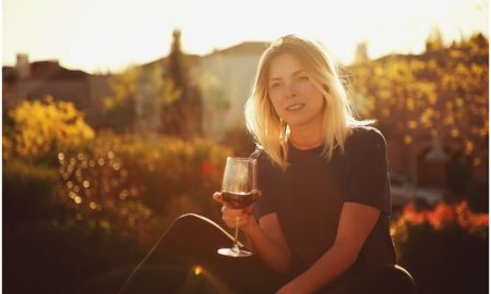 wine woman stock image