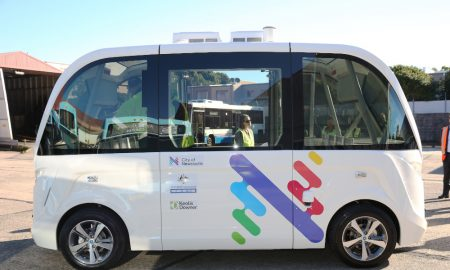 The unveiling of the new Driverless Shuttle Bus at the Newcastle Bus Terminal with Mayor Nuatali Nelmes. Picture by Peter Lorimer.