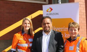 Pictured L-R: Anna Dartnell, General Manager Iron Ore & Central West, Aurizon; Councillor Linden Brownley, City of Kalgoorlie Boulder; and Sue Jefford, Manager of Training at Aurizon.