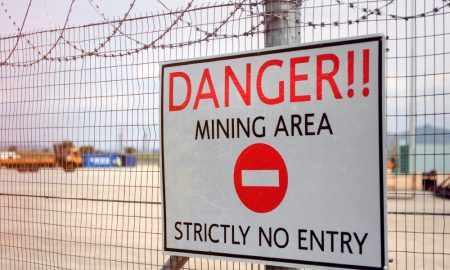 fence mine mining stock image
