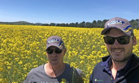Tourello farmer Steve Kinnersly with his agronomist Brendan Smith.