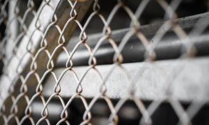 factory fence stock image