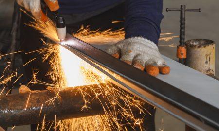 manufacturing steel metal plasma cutter stock image