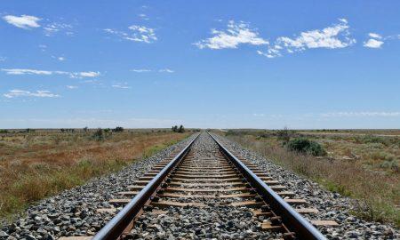transport railway straight stock image