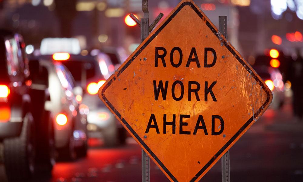 road work ahead stock image