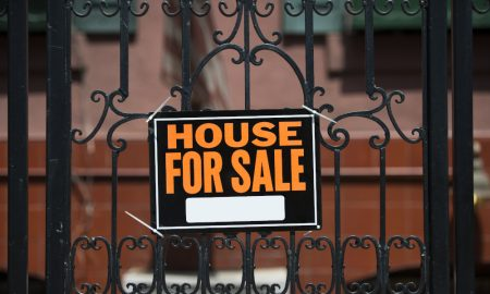 house sale fence stock image