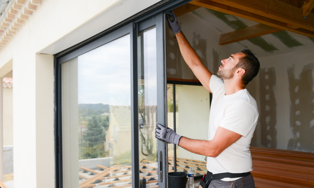 glass door sliding installation stock image
