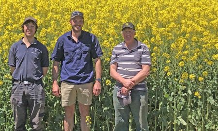 Farm worker James Reddish, Wetsern Ag agronomist Brendan Smith and farmer Graeme Ford.