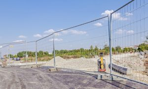 fence temporary construction stock image